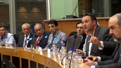 """صورة مؤتمر """"مخاطر وجود زمره خلق في ألبانيا"""" في البرلمان الأوربي بحضور وفد كبير للمنفصلين عن الزمره"""