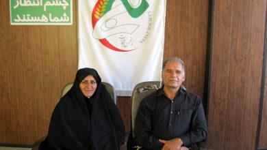 صورة حضور السيد بنيادي و السيده اعظم نوري في مكتب جمعية النجاة محافظة مركزي (اراك)