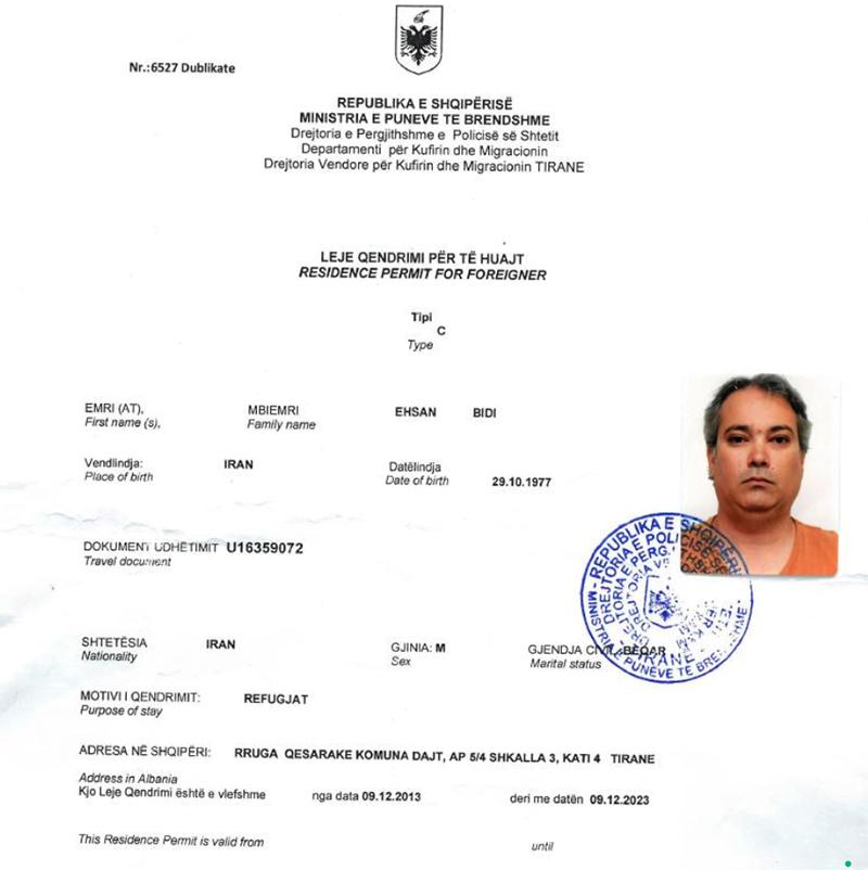 Ehsan Bidi refugee certificate