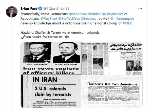 Erfan Fard tweets on MEK annual meeting