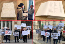 Photo of MEK Families Petition Albanian Embassy in Paris