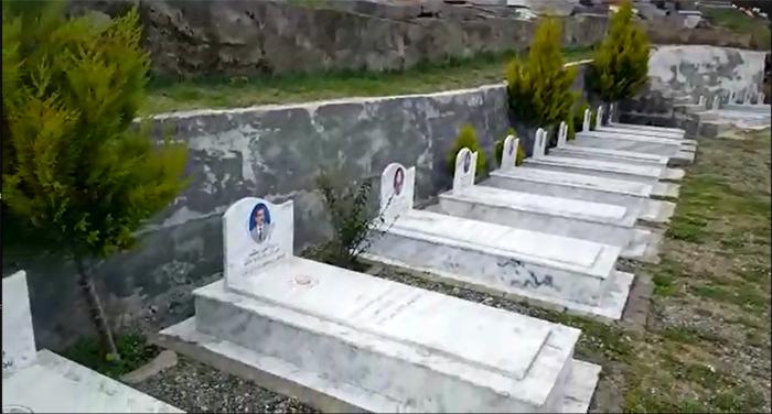 Graves of MEK members in a public graveyard in Tirana.