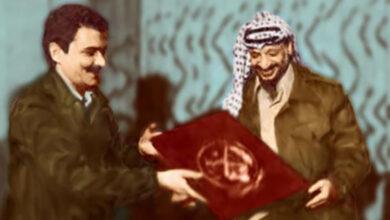 Photo of Rajavi greets Yasser Arafat in Tehran