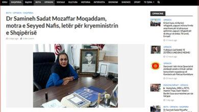 Photo of Dr. Mozaffar Moghadam's letter to Edi Rama in the Albanian media