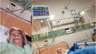 تصویر از مادر اسدالله فیاض دیزج در بستر بیماری و در انتظار صدای فرزند