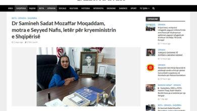 تصویر از انعکاس نامه دکتر مظفر مقدم به ادی راما در رسانه آلبانیایی
