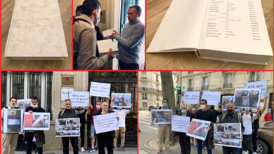 تصویر تسلیم نامه ها و امضاهای هزاران عضو خانوادۀ اسرای فرقۀ رجوی به سفارت آلبانی در پاریس